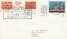 1971 STRIKE MAIL SPECIAL COURIER MAIL COVER UK TO PORTUGAL