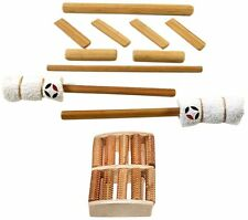 Solid Bamboo Bamboo Massage Stick Set with Foot Massage - Pack of 10 Pieces
