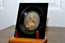 VICTORIAN 19th c. FRENCH MINIATURE FEMALE PORTRAIT OIL PAINTING Signed