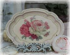 French Country Chic Small Vanity Metal Tray Decorative Shabby Vintage Antique