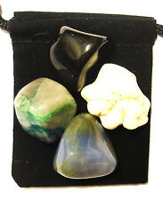 BLOOD CLOTTING DISORDERS Tumbled Crystal Healing Set = 4 Stones + Pouch + Card