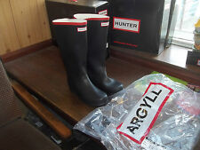 HUNTER WELLIES WELLINGTONS  IN HALIFAX ARGYLL BLACK/RED SIZE 7 FULL KNEE