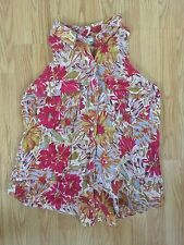 ANTHROPOLOGIE Top 10 L Large Tank Floral Print Summer Affairs Tunic