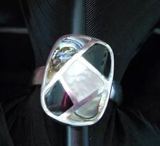 BEAUTIFUL ESTATE STERLING SILVER MOTHER OF PEARL ONYX ABALONE RING BAND SIZE 7