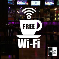 FREE WI FI COFFEE CUP - Vinyl Window Sticker Cafe Restaurant Art Decal LARGE