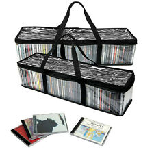 Evelots® Set Of 2 Zebra Print Storage Bags, Portable CD Holders, Holds 110 CDs