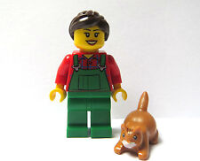 Lego City Farmer Farm Girl Minifigure Figure & Crouching Cat Kitten Pet Animal