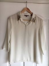Ted Baker Top size 0 (UK 6) in Crème with Embellished Jewel Diamante Collar