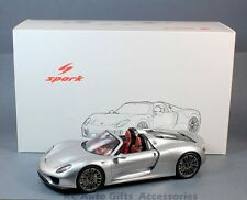 Spark 18S172 Porsche 918 Spyder Open Roof Silver 1:18 Resin Car