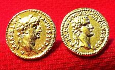 Ancient Roman Emperors Tiberius & Caligula Gold Plated Coin Cufflinks + Box!