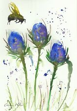 Bumble bee & thistles  watercolour  original painting Size A4 By Casimira Mostyn