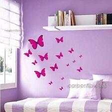 20x Hot Pink Butterflies Wall Stickers Home Art Decal Shop Window Decor UK