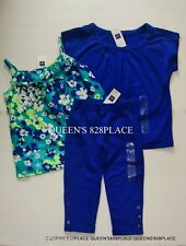 Nwt Gap Kids Girls 4-5 lot Blue Green Ruffle floral tank top capri set outfit