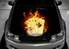 Four Aces Flame Full Color Graphics Adhesive Vinyl Sticker Fit Car Bonnet #035