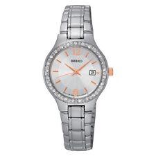 SEIKO Women SUR769 Round Date White Dial Steel Bracelet w/Box Retail $220.00