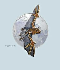 BAT & MOON Cloisonne PIN by Bamboo Jewelry Enamel STERLING Silver Fall - Boxed