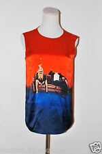 EDWARD ROTH NEW YORK UNIQUE 100% HERMES SILK RED BLUE TANK TOP SIZE SMALL