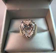 Sterling Silver Ring Huge CZ Stone Size 8.5 Tear Drop 9.43 Grams Marcasites NICE