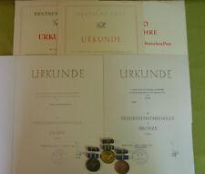 DDR 3 Medaillen & 5 Urkunden - Treue Dienste bei der Deutschen Post - G - S - B