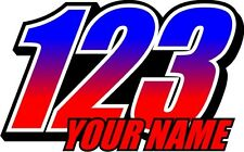 COLOUR FADE RACE NUMBERS PLUS NAME DECALS GRAPHICS  x3