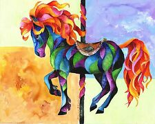 MIDNIGHT FIRE  8x10 CAROUSEL  HORSE Print from Artist Sherry Shipley