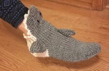 Hand Knit GREY SHARK  Woman's Socks  size 5/6 S
