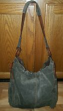 LUCKY BRAND Green Suede Leather Large Shoulder Bag Hobo Purse Slouch fringe
