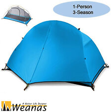 Weanas Single 3 Season Waterproof Portable Dome Tent Hiking Camping Double layer