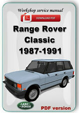 Land Rover Range Rover Classic 1987-1991 workshop service repair manual