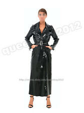 100% Latex Rubber Gummi Long Trench Coat Dress Jacket Catsuit Belt Girdle Buckle