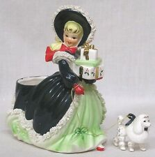 Vintage NAPCO Christmas Shopper Lady Walking POODLE Spaghetti Art AX2752A