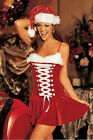 Sexy! Christmas Holiday Lingerie Red Velvet Dress Costume - Santa Hat! 7107 USA