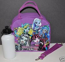 MONSTER HIGH LUNCH BAG BOX SKULL TOTE MESSENGER INSULATED FREE BOTTLE PURPLE NWT