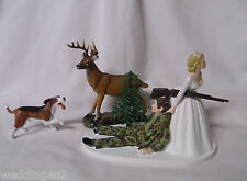 Wedding Party Reception ~Hound Dog~ Camo  Deer Hunter Hunting Cake Topper Funny
