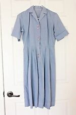 Vintage ROCKABILLY Day Dress Cotton Blue 1950's farmer's wife look hidden lace