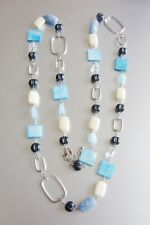 """LIA SOPHIA SILVER TONE BLUE/WHITE RESIN MOTHER OF PEARL 35""""-39"""" NECKLACE"""
