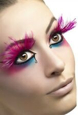 Feather Plume Eyelashes New Adult Halloween Cristmas Womens Makeup Fever Pink