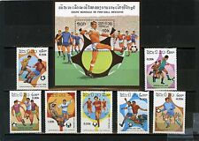 LAOS 1986 SOCCER WORLD CUP MEXICO SET OF 7 STAMPS & S/S MNH