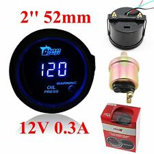 "2"" 52mm Black Universal DIGITAL BLUE LED OIL PRESS PRESSURE GAUGE Meter PSI CAR"