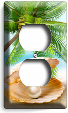 SEE SHELL PEARL PALM BEACH DUPLEX POWER OUTLET WALL PLATE COVER HOME ROOM DECOR