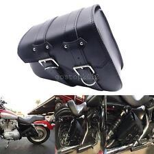 Black Motorcycle Leather Saddle Bag For Harley Sportster XL 883 Hugger Sportster