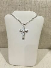 .925 Sterling Silver Men's/Ladies Cross Crucifix Pendant & Figaro Chain