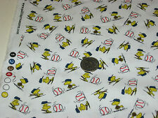 Quilting Treasures quilt fabric All Star Snoopy WOODSTOCK BASEBALL wht 2 yds Fun