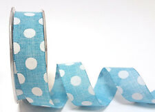 5m 25mm Turquoise Polka Dot Faux Burlap Ribbon by Bertie's Bows Easter Wrap Gift