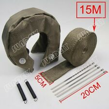 """T3 Titanium Out Lava Turbo Blanket & 2""""X50' Exhaust Header Heat Pipe Wrap Tape"""