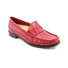 Cole Haan LAUREL Moc Red Croc Print Leather Loafers Shoes Womens 7 NEW IN BOX
