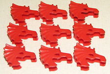 LEGO LOT OF 9 RED HORSE HELMETS CASTLE DRAGON KNIGHT ARMOR