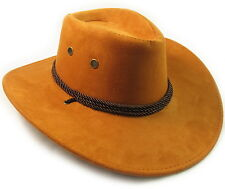 Faux Leather Hat Cap Cowboy Mens Western Large Womens w/ chin strap Brown NEW