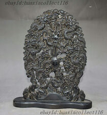 Old China Dynasty Palace Rosewood Wood Carved 9 Dragon Play Ball Statue Screen