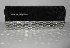 NEW Women's Evening BLACK SILVER Crystals Bling Rhinestone Clutch Handbag Purse